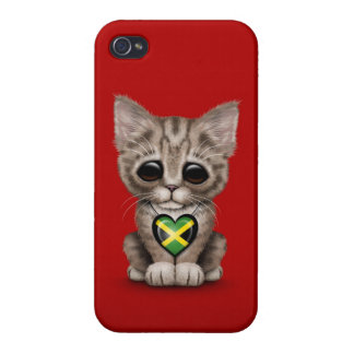 Cute Kitten Cat with Jamaican Flag Heart red iPhone 4 Cases