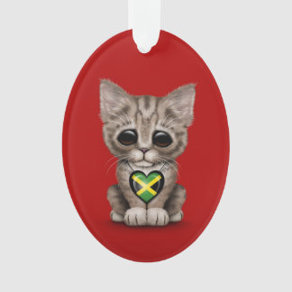 Cute Kitten Cat with Jamaican Flag Heart, red Ornament