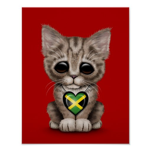 Cute Kitten Cat with Jamaican Flag Heart, red Posters