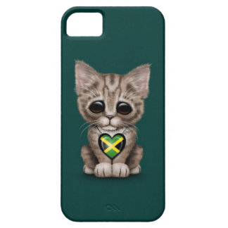 Cute Kitten Cat with Jamaican Flag Heart, teal Barely There iPhone 5 Case