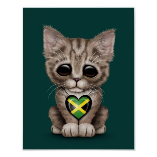 Cute Kitten Cat with Jamaican Flag Heart, teal Poster