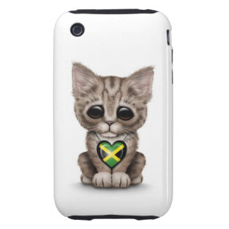 Cute Kitten Cat with Jamaican Flag Heart, white Tough iPhone 3 Covers