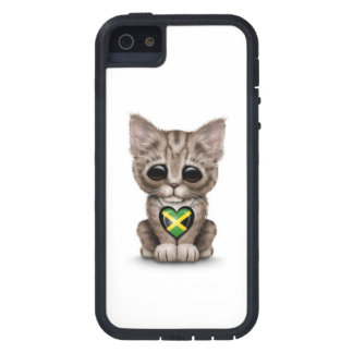 Cute Kitten Cat with Jamaican Flag Heart, white iPhone 5 Case