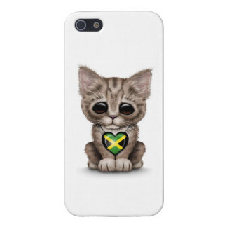 Cute Kitten Cat with Jamaican Flag Heart, white Covers For iPhone 5