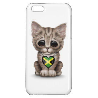 Cute Kitten Cat with Jamaican Flag Heart, white iPhone 5C Cases