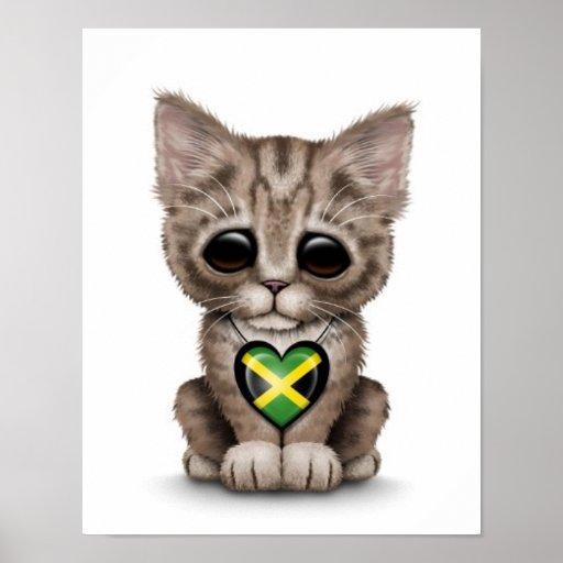 Cute Kitten Cat with Jamaican Flag Heart, white Print