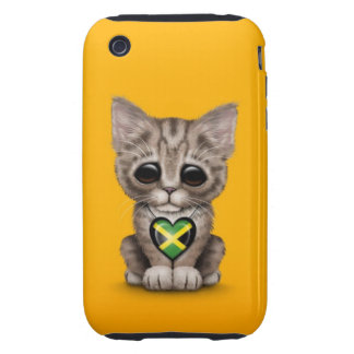 Cute Kitten Cat with Jamaican Flag Heart, yellow Tough iPhone 3 Cases