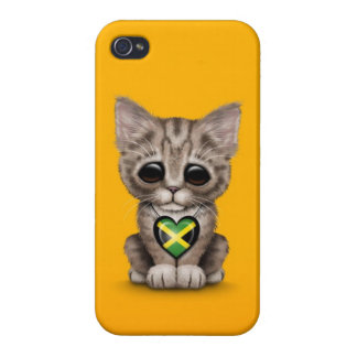 Cute Kitten Cat with Jamaican Flag Heart yellow iPhone 4 Cases