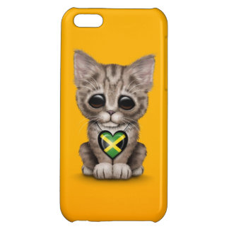Cute Kitten Cat with Jamaican Flag Heart, yellow iPhone 5C Case