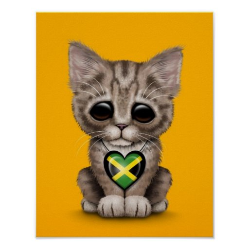 Cute Kitten Cat with Jamaican Flag Heart, yellow Posters