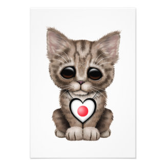 Cute Kitten Cat with Japanese Flag Heart Custom Invitation