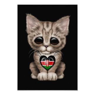 "Cute Kitten Cat with Kenyan Flag Heart, black 3.5"" X 5"" Invitation Card"