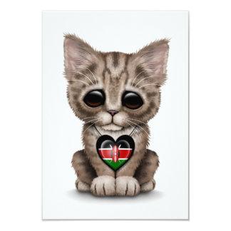 Cute Kitten Cat with Kenyan Flag Heart, white Custom Invitations
