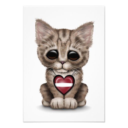 Cute Kitten Cat with Latvian Flag Heart, white Personalized Invites