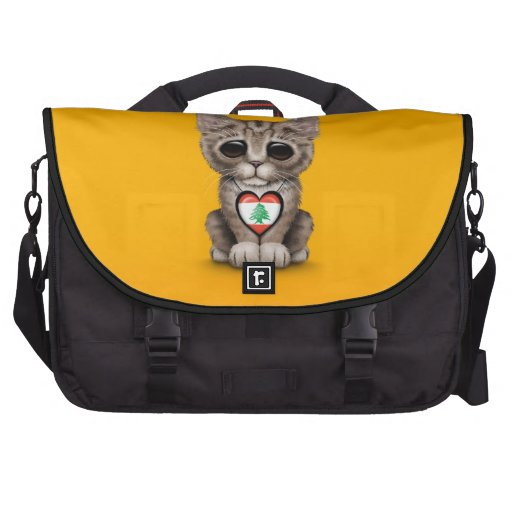 Cute Kitten Cat with Lebanese Flag Heart, yellow Laptop Commuter Bag