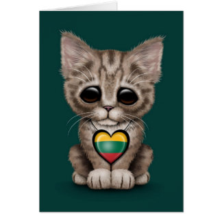 Cute Kitten Cat with Lithuanian Flag Heart, teal Cards