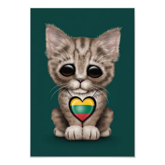 Cute Kitten Cat with Lithuanian Flag Heart, teal Personalized Invites