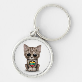 Cute Kitten Cat with Lithuanian Flag Heart, white Key Ring