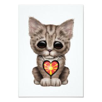 "Cute Kitten Cat with Macedonian Flag Heart 3.5"" X 5"" Invitation Card"