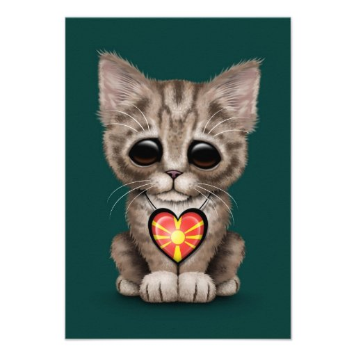 Cute Kitten Cat with Macedonian Flag Heart, teal Personalized Invites