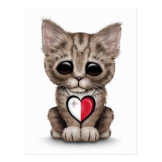 Cute Kitten Cat with Maltese Flag Heart, white Postcard