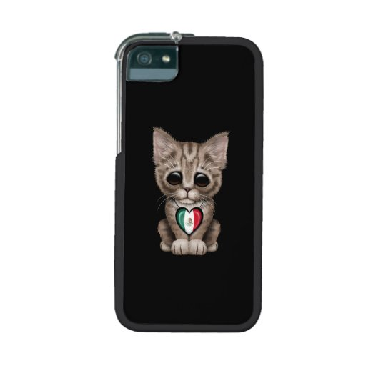 Cute Kitten Cat with Mexican Flag Heart, black iPhone 5 Covers