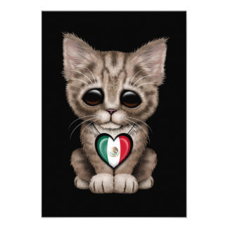Cute Kitten Cat with Mexican Flag Heart, black Custom Invite