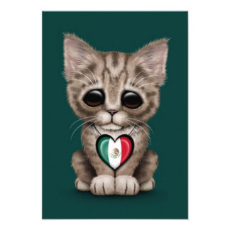 Cute Kitten Cat with Mexican Flag Heart teal Personalized Invitation