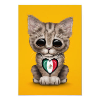 """Cute Kitten Cat with Mexican Flag Heart, yellow 3.5"""" X 5"""" Invitation Card"""