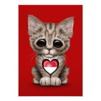 Cute Kitten Cat with Monaco Flag Heart red Custom Invitations