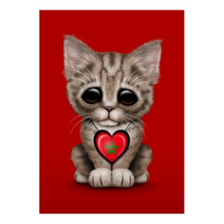 Cute Kitten Cat with Morocco Flag Heart, red Pack Of Chubby Business Cards