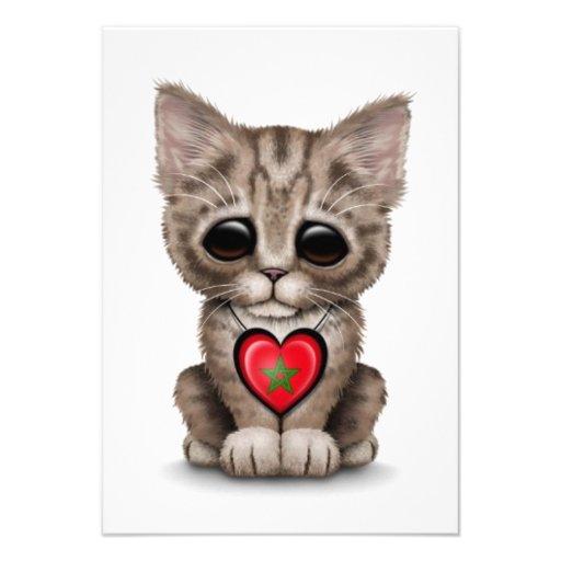 Cute Kitten Cat with Morocco Flag Heart, white Custom Announcement