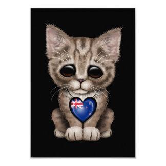 Cute Kitten Cat with New Zealand Flag Heart, black Invitations