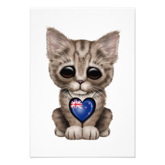 Cute Kitten Cat with New Zealand Flag Heart Personalized Invitations