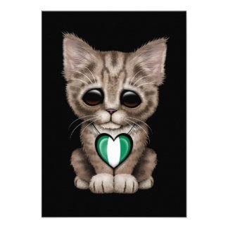 Cute Kitten Cat with Nigerian Flag Heart black Announcement