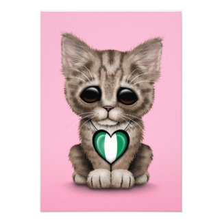 Cute Kitten Cat with Nigerian Flag Heart pink Personalized Invitation