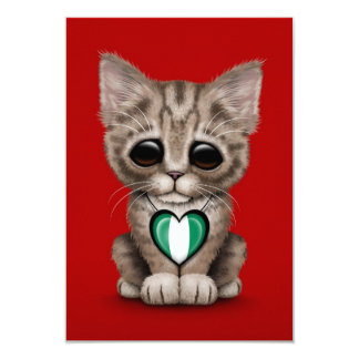 Cute Kitten Cat with Nigerian Flag Heart, red 9 Cm X 13 Cm Invitation Card