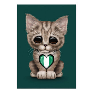 Cute Kitten Cat with Nigerian Flag Heart teal Personalized Announcements
