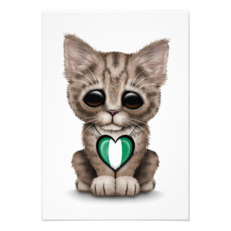Cute Kitten Cat with Nigerian Flag Heart white Custom Invite