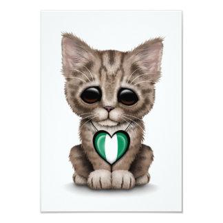 Cute Kitten Cat with Nigerian Flag Heart, white 9 Cm X 13 Cm Invitation Card