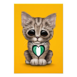 Cute Kitten Cat with Nigerian Flag Heart yellow Personalized Announcement