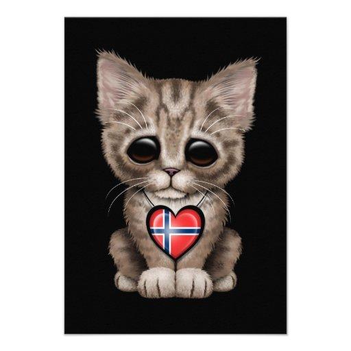 Cute Kitten Cat with Norwegian Flag Heart, black Announcement