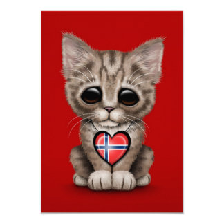 Cute Kitten Cat with Norwegian Flag Heart, red Personalized Invitations