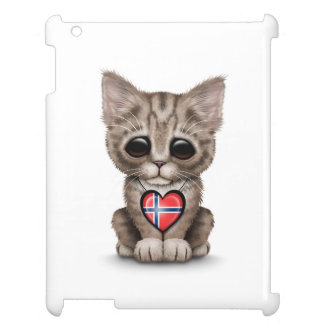Cute Kitten Cat with Norwegian Flag Heart, white Cover For The iPad 2 3 4
