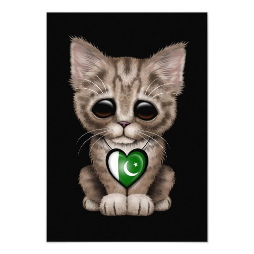 Cute Kitten Cat with Pakistani Flag Heart, black Invitation