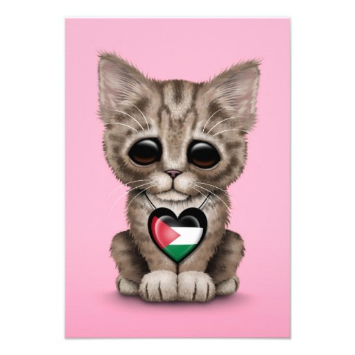 Cute Kitten Cat with Palestinian Flag Heart, pink Custom Announcements