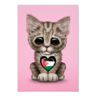 Cute Kitten Cat with Palestinian Flag Heart, pink 3.5x5 Paper Invitation Card