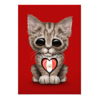 Cute Kitten Cat with Peruvian Flag Heart, red Invite