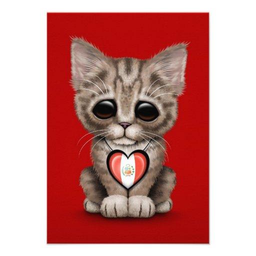 Cute Kitten Cat with Peruvian Flag Heart, red Invite