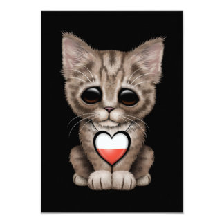 Cute Kitten Cat with Polish Flag Heart, black 9 Cm X 13 Cm Invitation Card